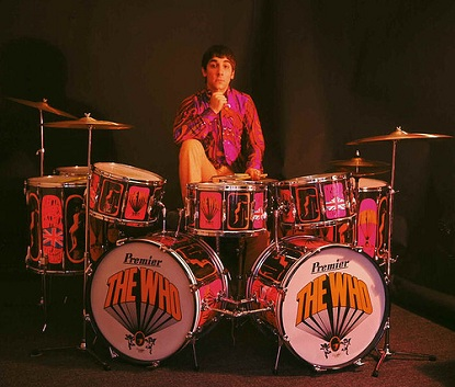 Keith Moon with drumkit